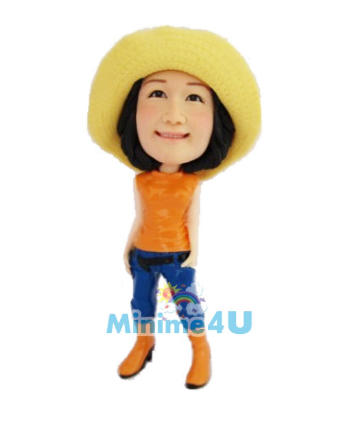 cute girl wearing a straw hat