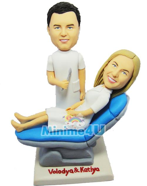 Dentist couple wedding cake topper
