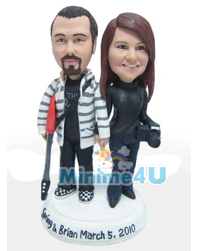 Guitar template for couple personalised figurine