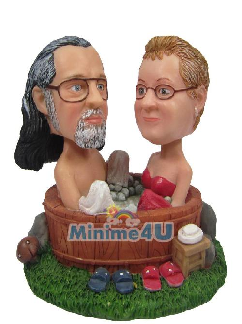 bath couple cake topper
