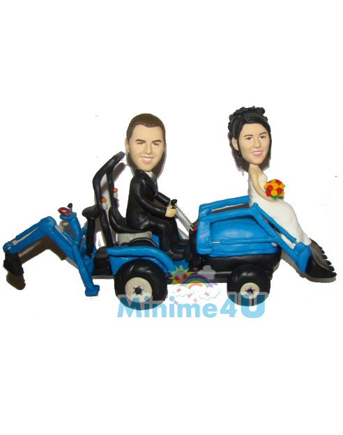Wedding cake topper for bulldozer drivers