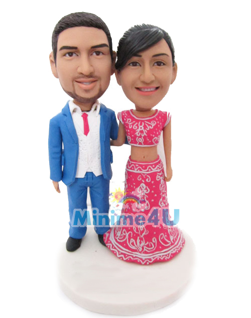 lovely indian couple wedding cake topper