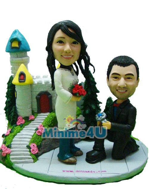 Propose style wedding cake topper